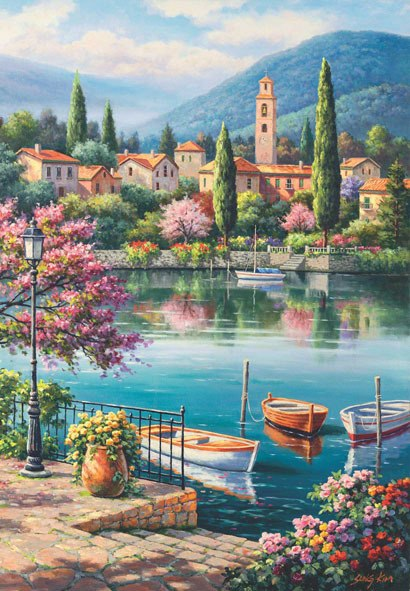 Village Lake Afternoon - 500pc Jigsaw Puzzle by Anatolian  			  					NEW - image main