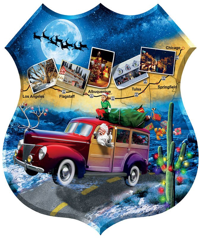 Santa's Highway - 1000pc Shaped Jigsaw Puzzle By Sunsout