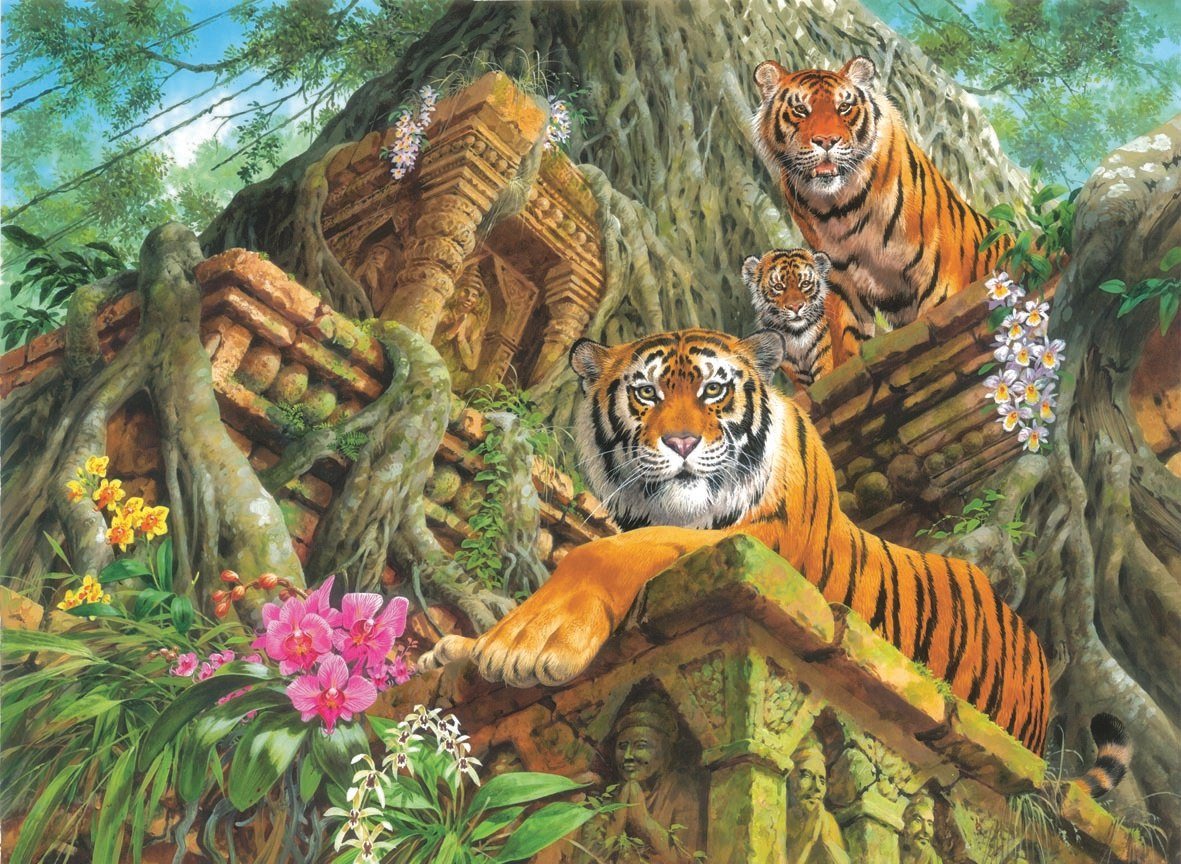 Temple Tigers - 1000pc Jigsaw Puzzle by Anatolian