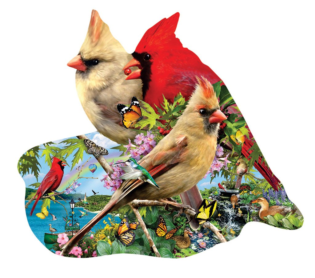 Summer Cardinals - 800pc Shaped Jigsaw Puzzle by Sunsout