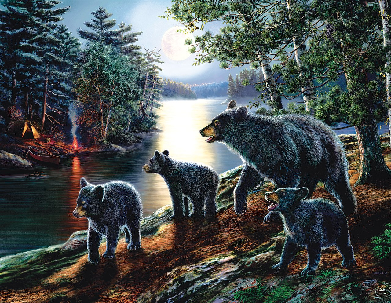 Bear Moon - 1000+pc Jigsaw Puzzle By Sunsout  			  					NEW