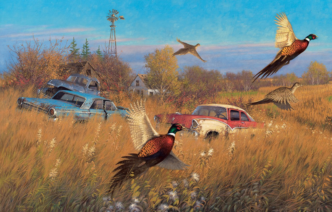 Jumping Pheasants - 500pc Jigsaw Puzzle By Sunsout  			  					NEW