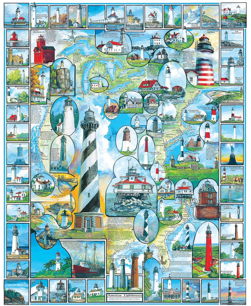 American Lighthouses - 1000pc Jigsaw Puzzle By White Mountain