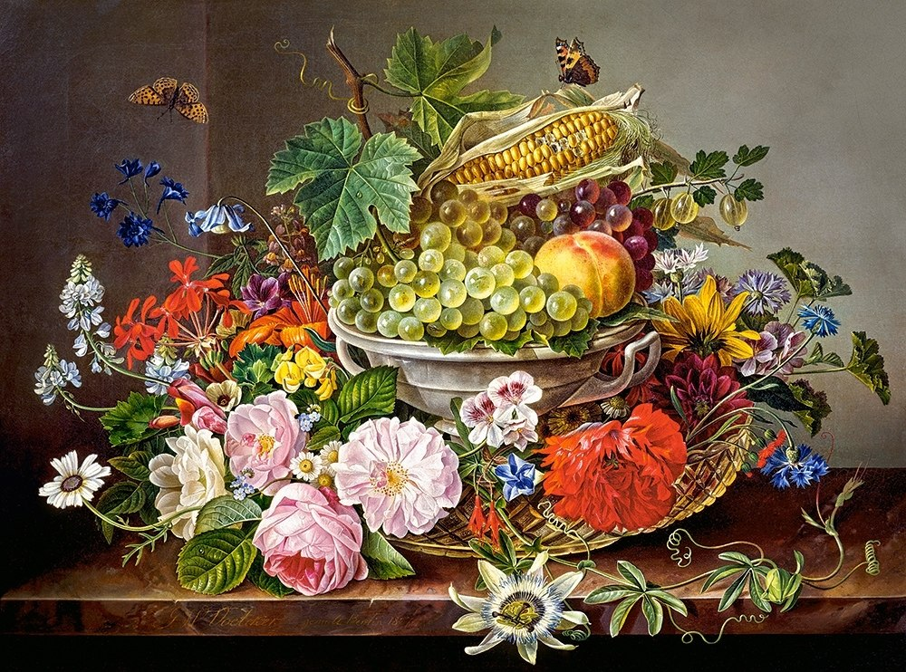 Still Life with Flowers and Fruit Basket - 2000pc Jigsaw Puzzle By Castorland  			  					NEW