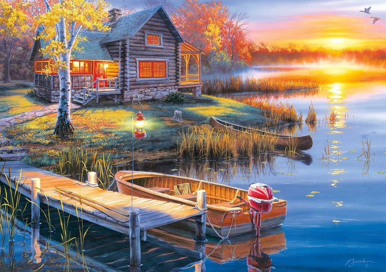 Autumn at the Lake - 300pc Large Format Jigsaw Puzzle By Buffalo Games  			  					NEW