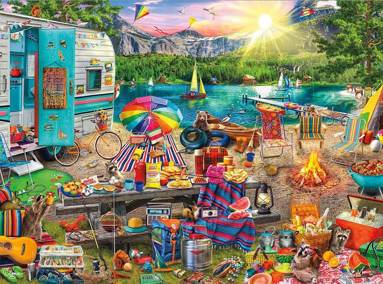 Family Campsite - 2000pc Jigsaw Puzzle by Buffalo Games  			  					NEW