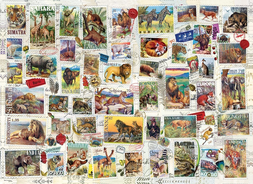 Vintage Stamps: Wildlife - 500pc Jigsaw Puzzle by Eurographics  			  					NEW
