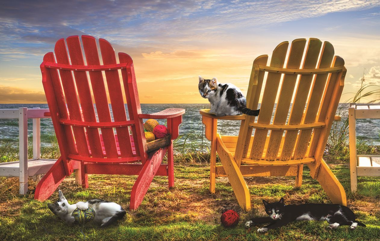 Cat Nap at the Beach - 1000pc Jigsaw Puzzle by Sunsout
