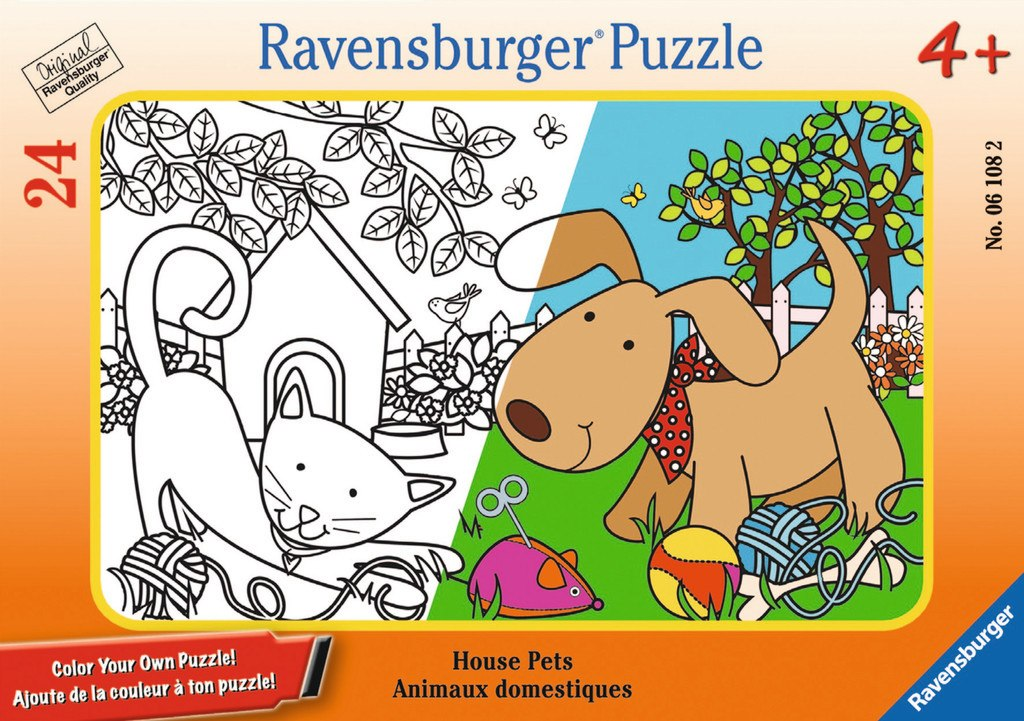 House Pets - 24pc Color Your Own Mini Frame Puzzle by Ravensburger