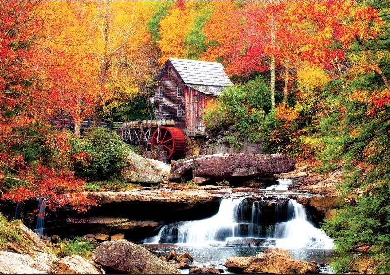 Kodak: Glade Creek Mill, Babcock State Park - 550pc Jigsaw Puzzle by Lafayette Puzzle Factory  			  					NEW