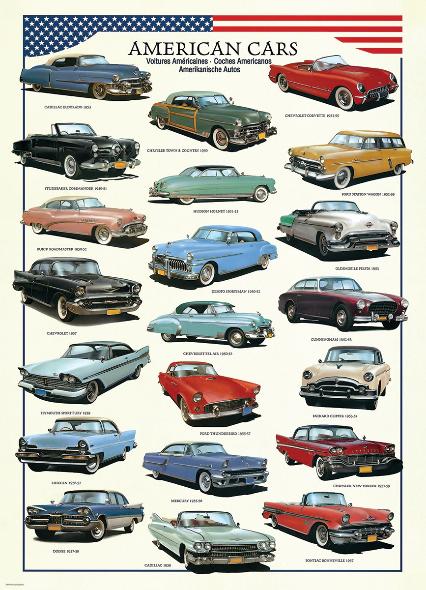 American Cars of the Fifties - 300pc Jigsaw Puzzle by Eurographics