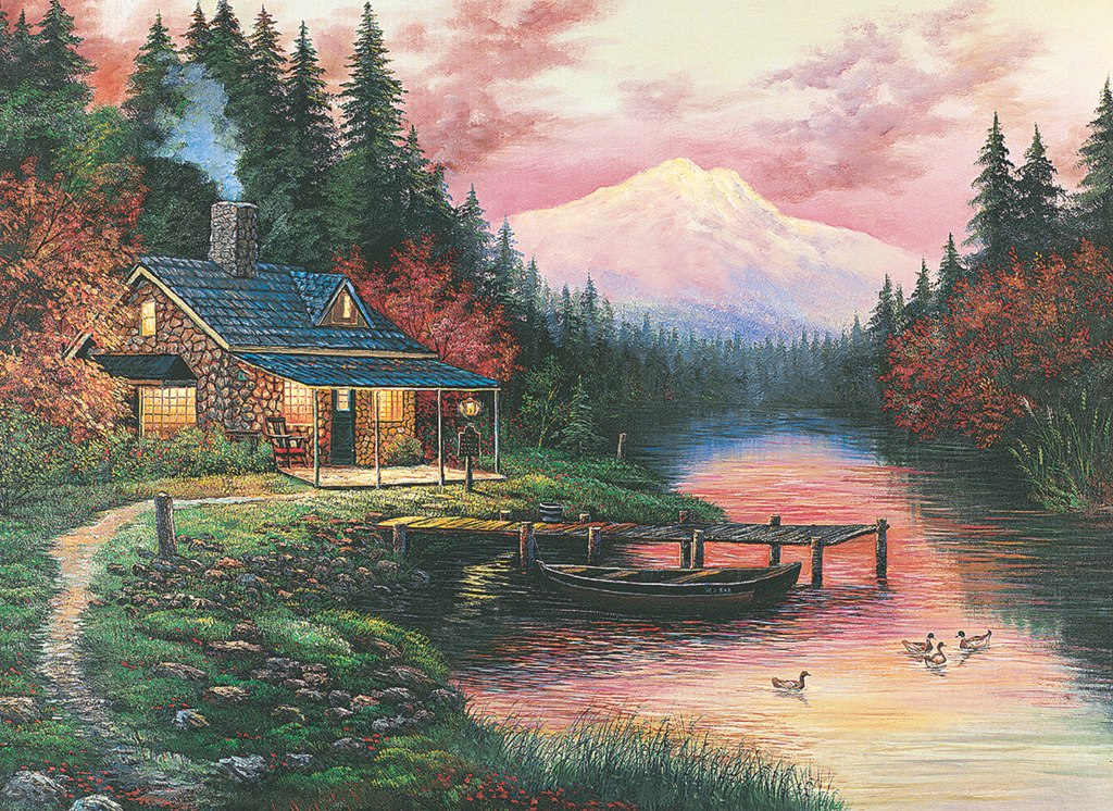 Cottage By The Lake - 500pc Jigsaw Puzzle by Tomax