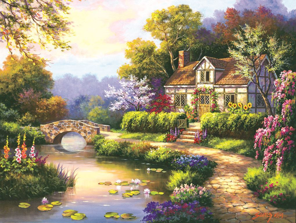 Swan Cottage II - 300pc Large Format Jigsaw Puzzle by SunsOut - image main