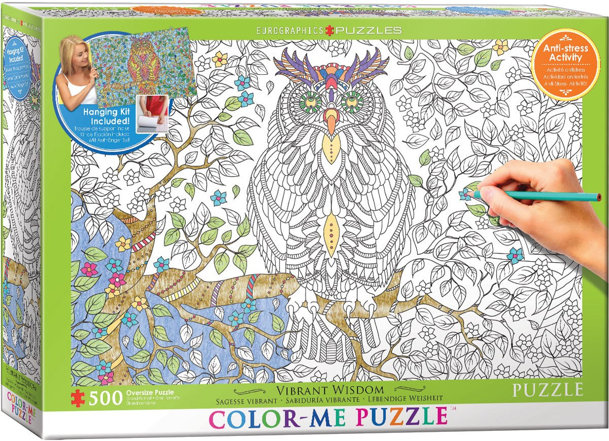 Color Me Puzzle: Vibrant Wisdom - Owl - 500pc Color Yourself Jigsaw Puzzle by Eurographics