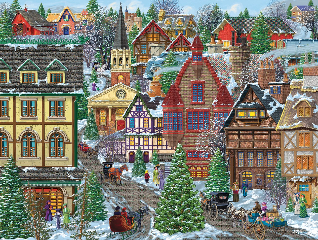 Winter Village Square - 300pc Jigsaw Puzzle By Sunsout  			  					NEW