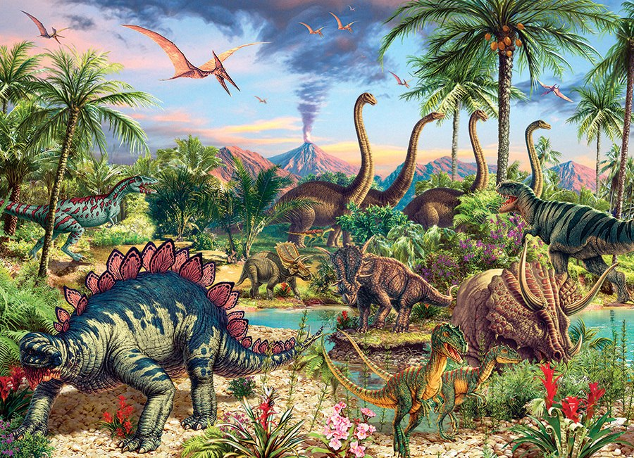 Prehistoric Party - 350pc Family Jigsaw Puzzle by Cobble Hill