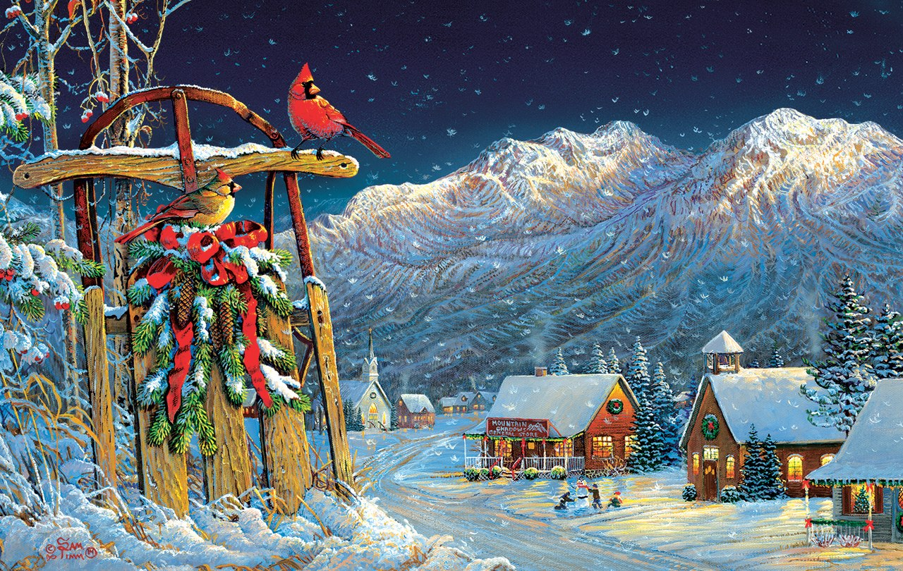 Cardinals Holiday - 550pc Jigsaw Puzzle by Sunsout  			  					NEW