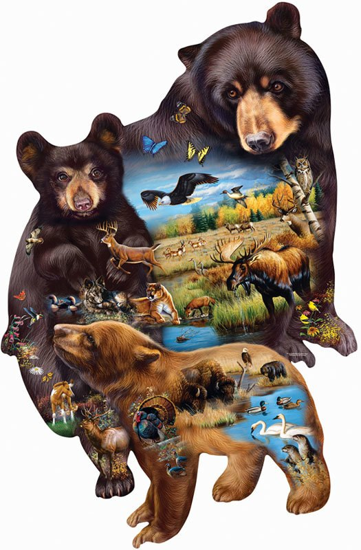 Bear Family Adventure - 1000pc Shaped Jigsaw Puzzle By Sunsout