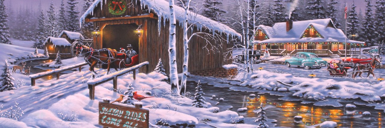 Holiday Gathering - 1000pc Panoramic Jigsaw Puzzle by Vermont Christmas Company