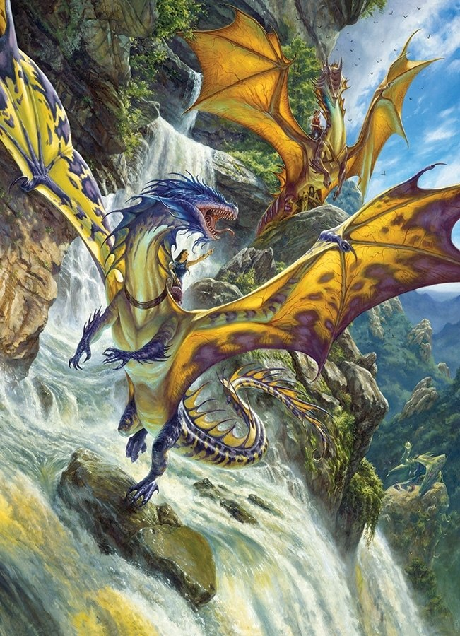Waterfall Dragons - 1000pc Jigsaw Puzzle by Cobble Hill (discon)