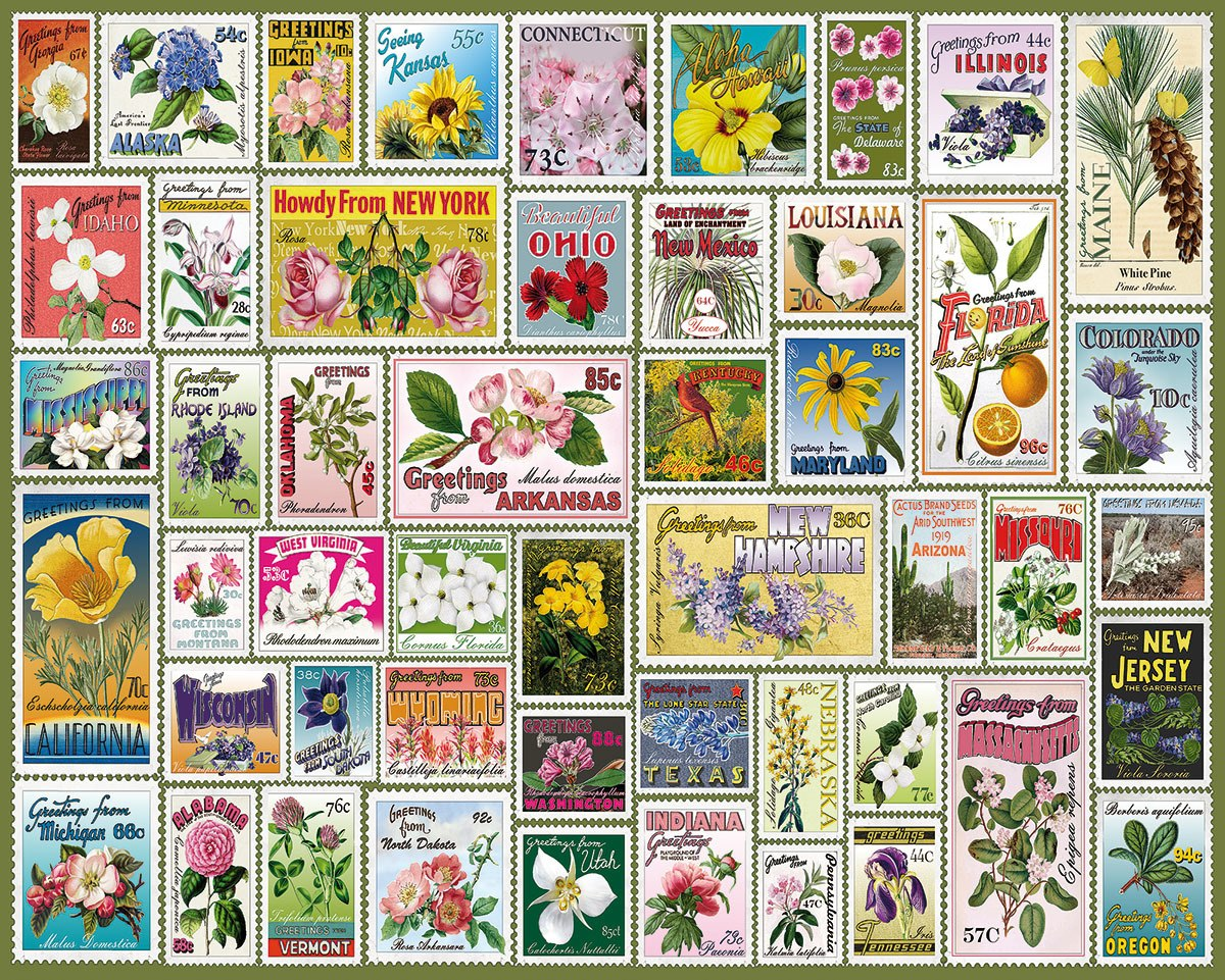 State Flower Stamps - 1000pc Jigsaw Puzzle By White Mountain