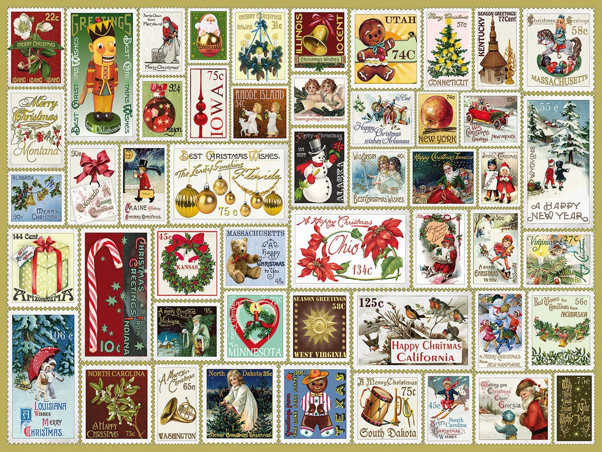 State Holiday Stamps - 300pc EZ Grip Jigsaw Puzzle By White Mountain  			  					NEW