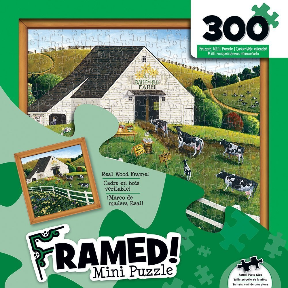 Daisy Field Farm - 300pc Framed Mini Jigsaw Puzzle By Masterpieces