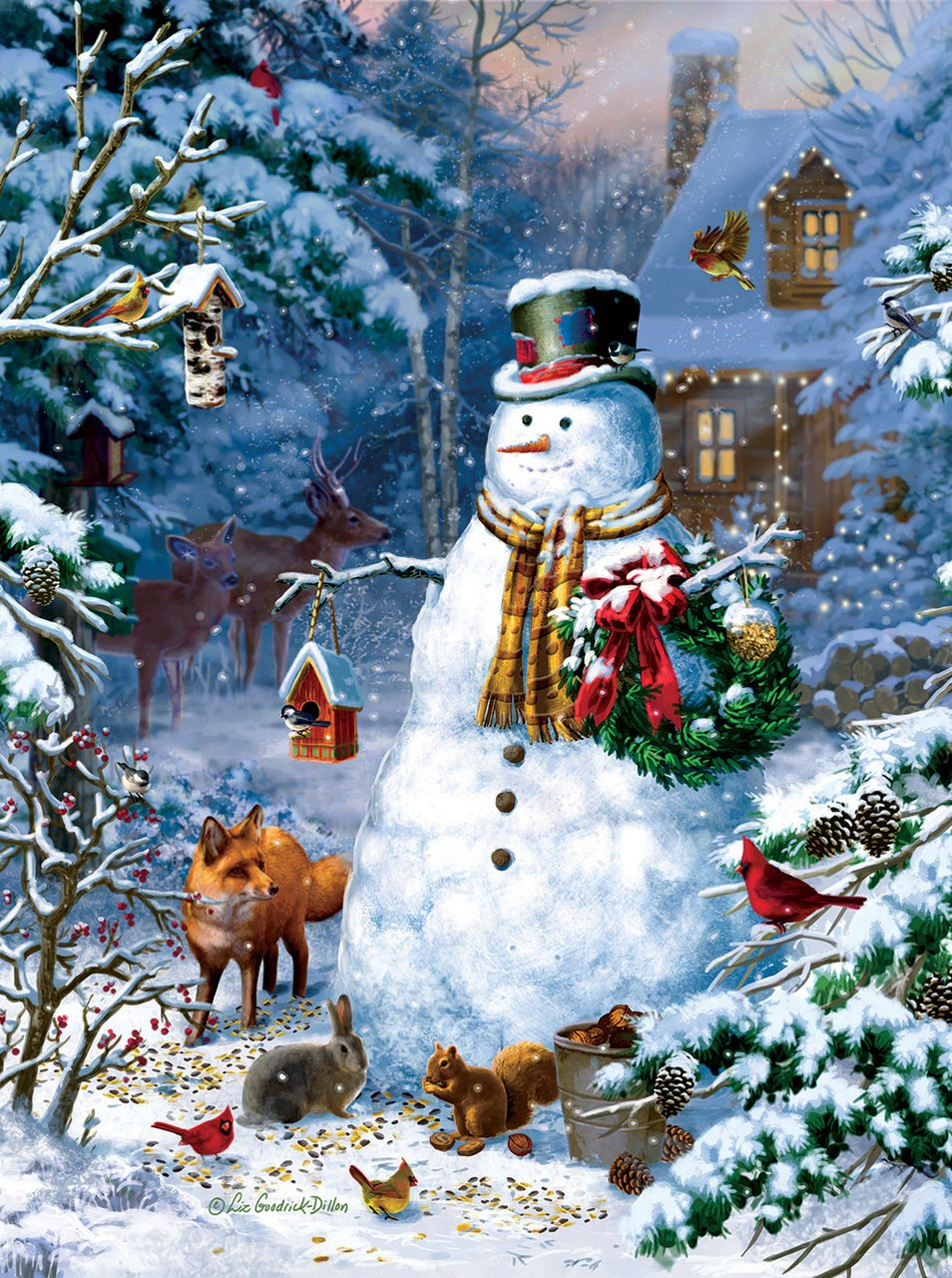 Winter Cabin Snowman - 1000pc Jigsaw Puzzle by Sunsout