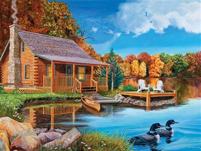 Loon Lake (updated) - 500pc Jigsaw Puzzle By Cobble Hill  			  					NEW - image 1