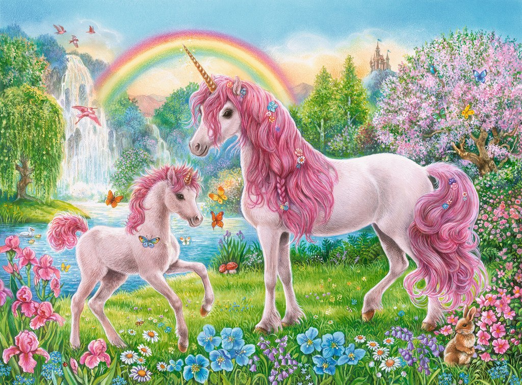 Magical Unicorns - 100pc Jigsaw Puzzle w/ Coloring Book By Ravensburger  			  					NEW