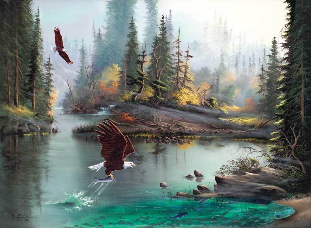River Eagles - 1000+pc Large Format Jigsaw Puzzle by Sunsout