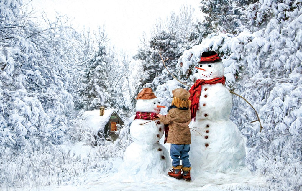Visiting the Snow Family - 550pc Jigsaw Puzzle by Sunsout
