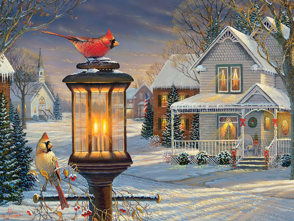 Cardinals in Winter - 1000pc Jigsaw Puzzle By White Mountain