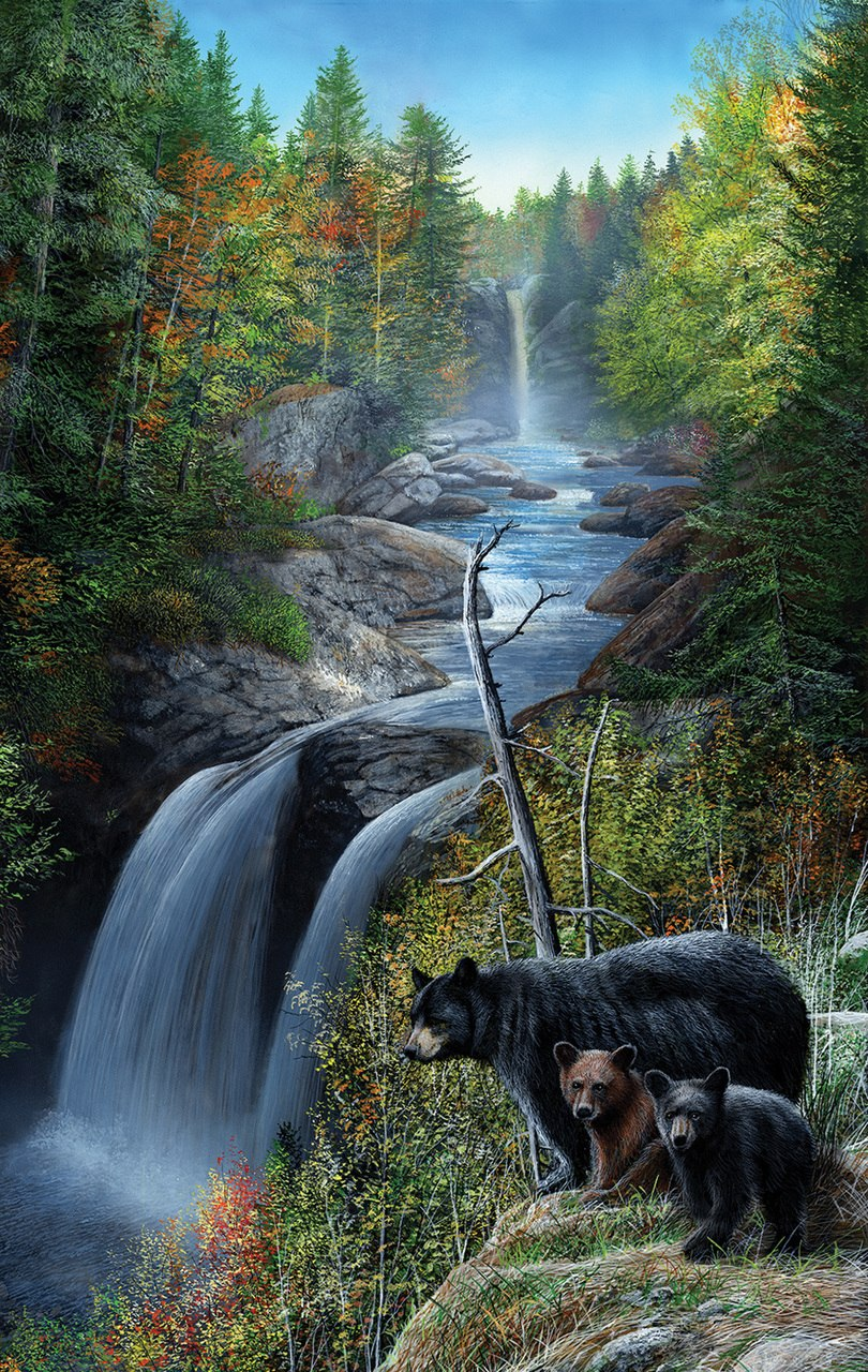 Bears at the Waterfall - 550pc Jigsaw Puzzle by SunsOut