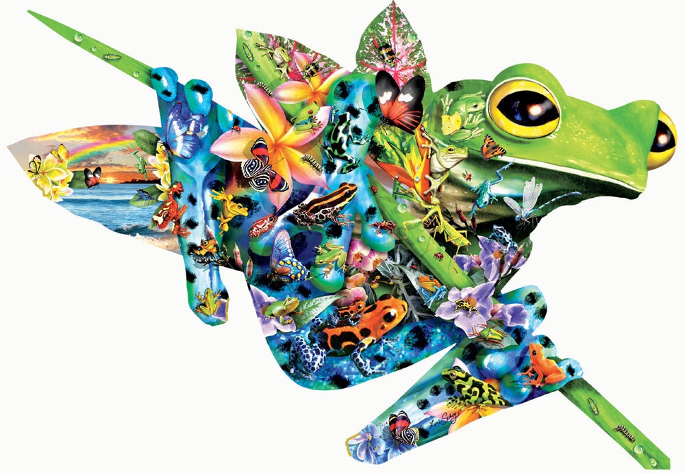 Paradise Frogs - 1000pc Shaped Jigsaw Puzzle By Sunsout