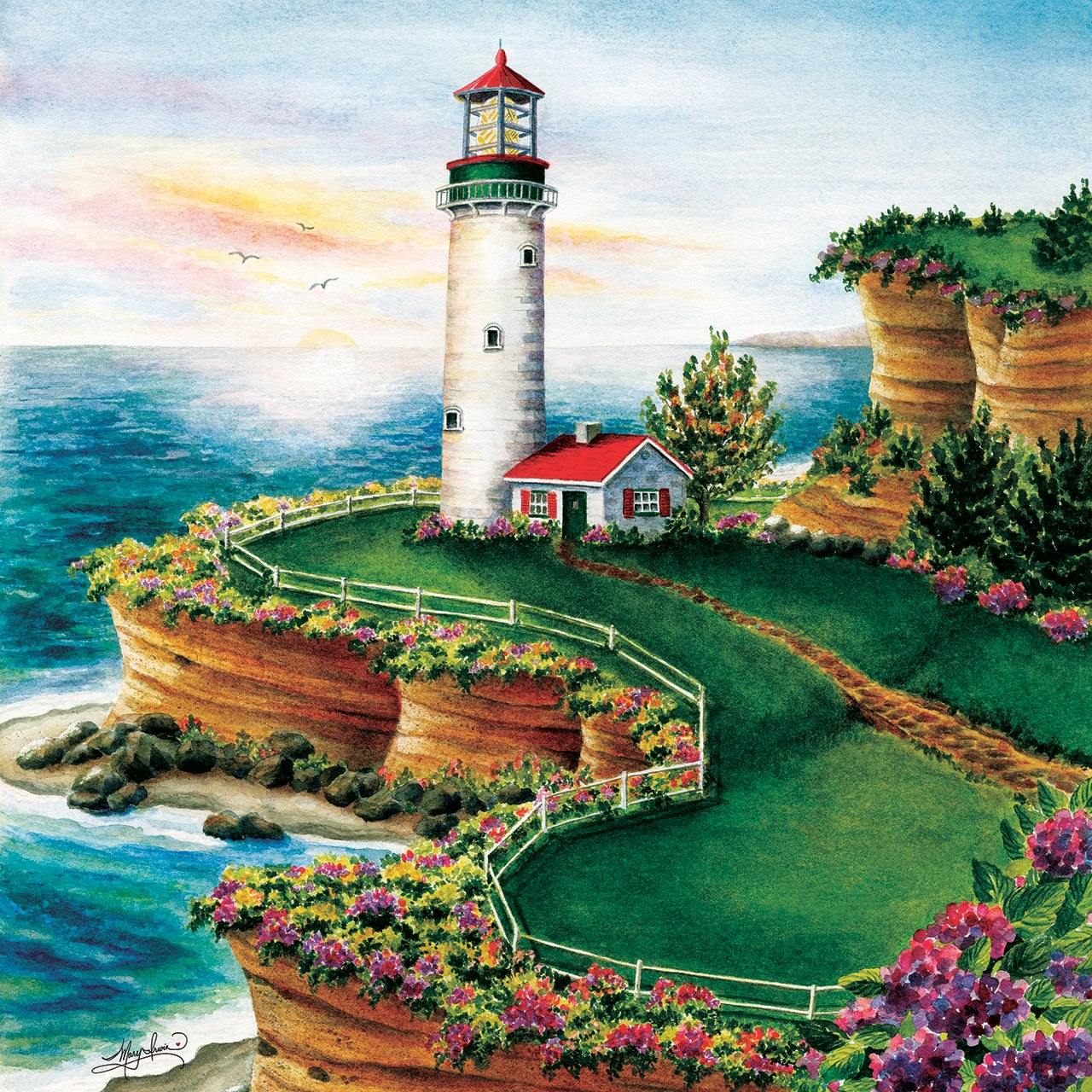Lighthouse Sunset - 500pc Jigsaw Puzzle By Sunsout  			  					NEW