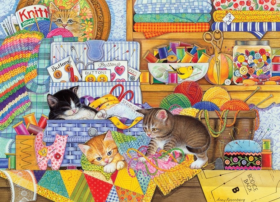 Crafty Kittens - 1000pc Jigsaw Puzzle by Cobble Hill