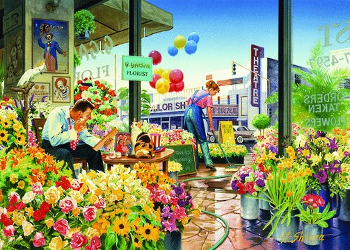 Interiors II: Sweet Home Flower Shop - 1000pc Jigsaw Puzzle by Holdson
