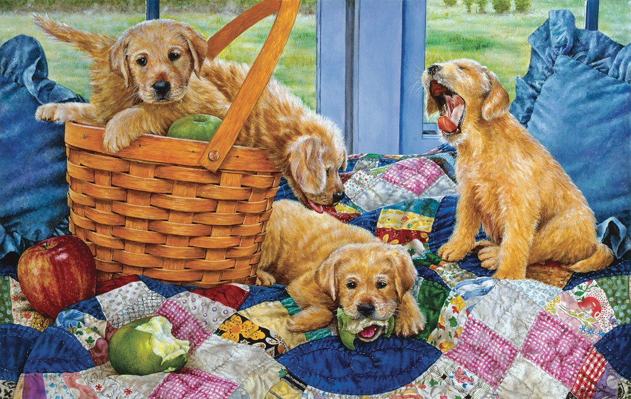 Puppies in a Basket - 550pc Jigsaw Puzzle By Sunsout  			  					NEW