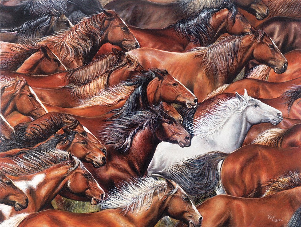 Horse of a Different Color - 500pc Jigsaw Puzzle By Sunsout  			  					NEW