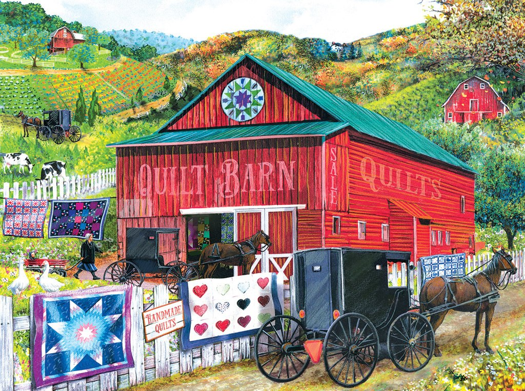 Stopping at the Quilt Barn - 1000pc Jigsaw Puzzle by SunsOut