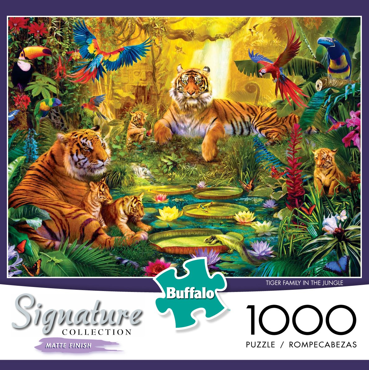 Signature Collection: Tiger Family in the Jungle - 1000pc Jigsaw Puzzle by Buffalo Games