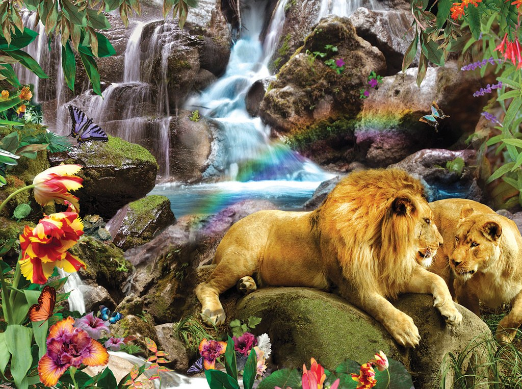 Love Lion Waterfall - 1000pc Jigsaw Puzzle by Sunsout