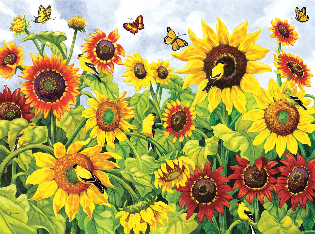 Sunflowers & Goldfinches - 1000pc Jigsaw Puzzle By Sunsout  			  					NEW