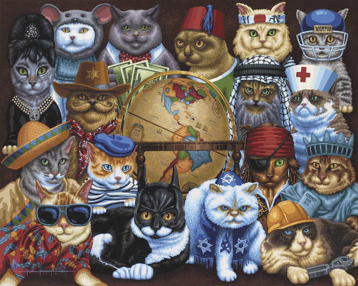 Cats Around the World - 500pc Jigsaw Puzzle by Dowdle  			  					NEW