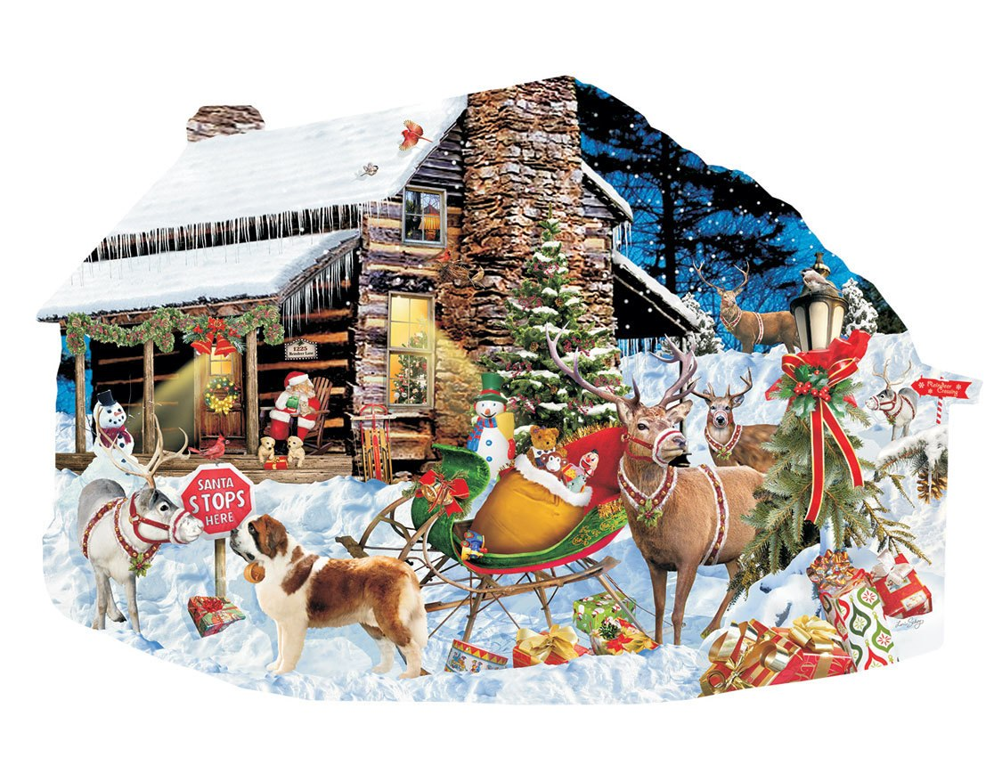 Santa's Rest Stop - 1000pc Shaped Jigsaw Puzzle by SunsOut