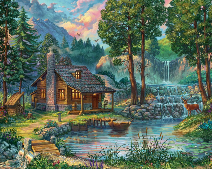 House by the Lake - 1000pc Jigsaw Puzzle by Vermont Christmas Company  			  					NEW