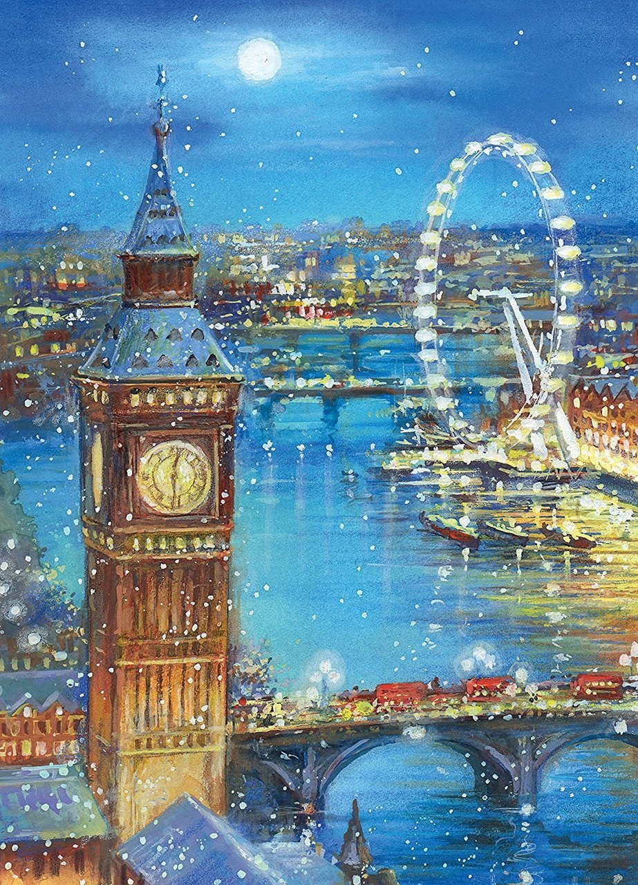 Snow Flakes on Big Ben - 1000pc Jigsaw Puzzle by Clementoni