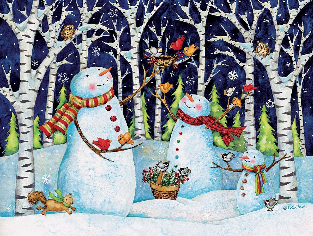 Birch & Snowmen - 500pc Jigsaw Puzzle by Lang  			  					NEW