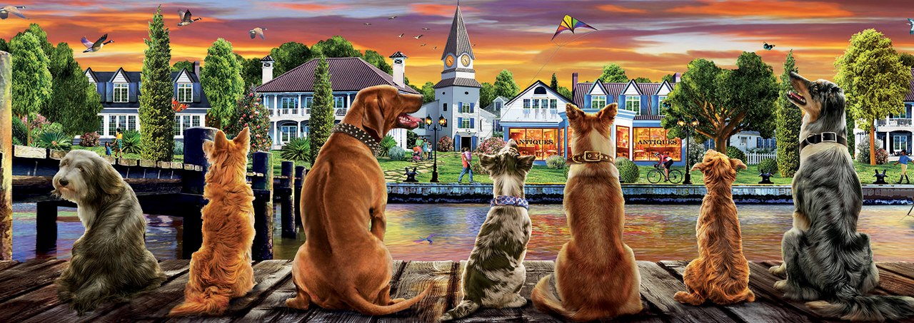 Dogs on the Quay - 1000pc Panoramic Jigsaw Puzzle by Educa  			  					NEW - image main